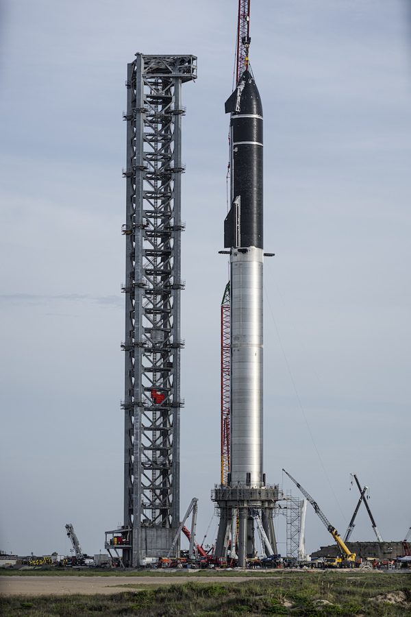 Space X Stacked Starship on it's launch pad